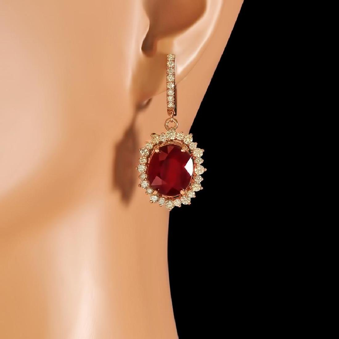14k Gold 18.88ct Ruby 2.65ct Diamond Earrings - 2