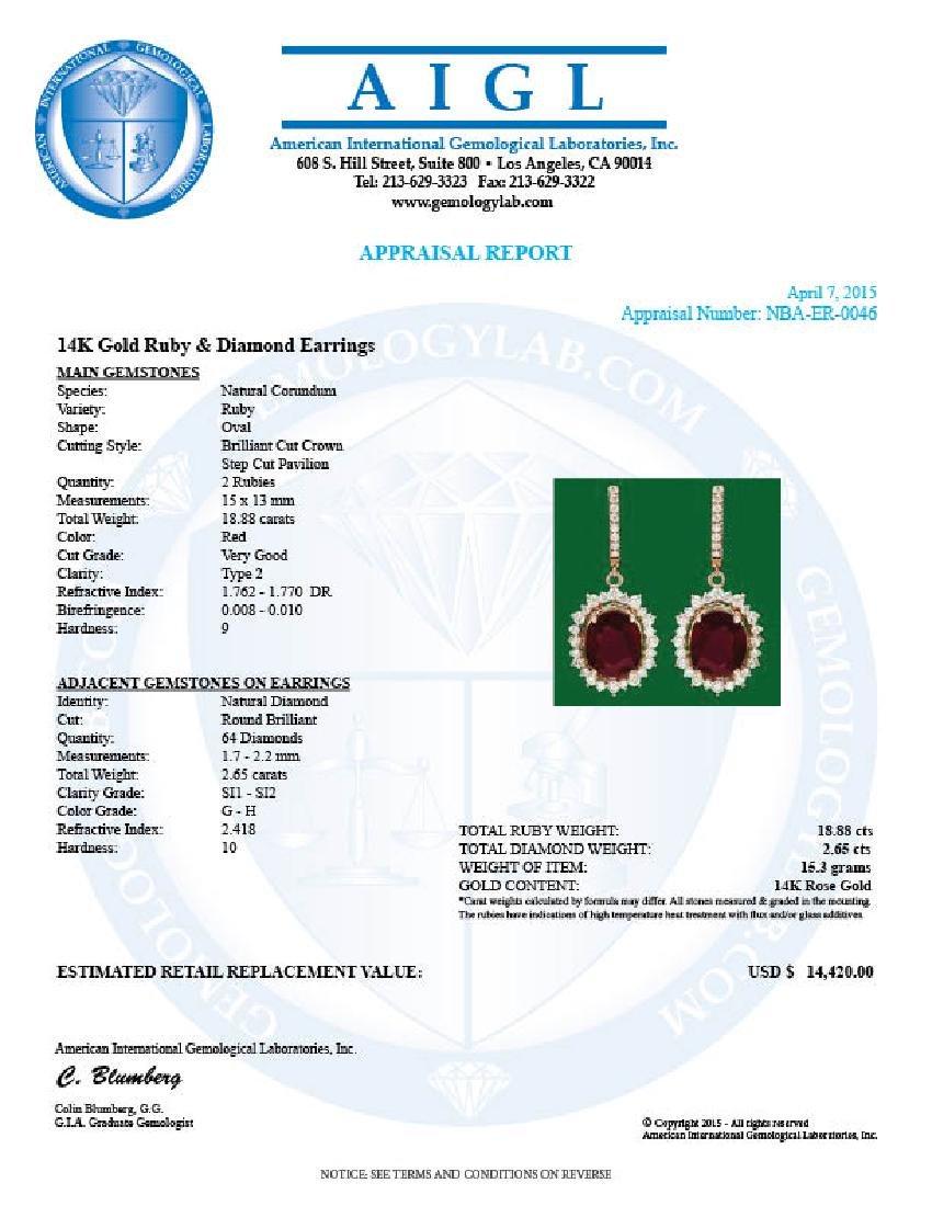 14k Gold 18.88ct Ruby 2.65ct Diamond Earrings - 3
