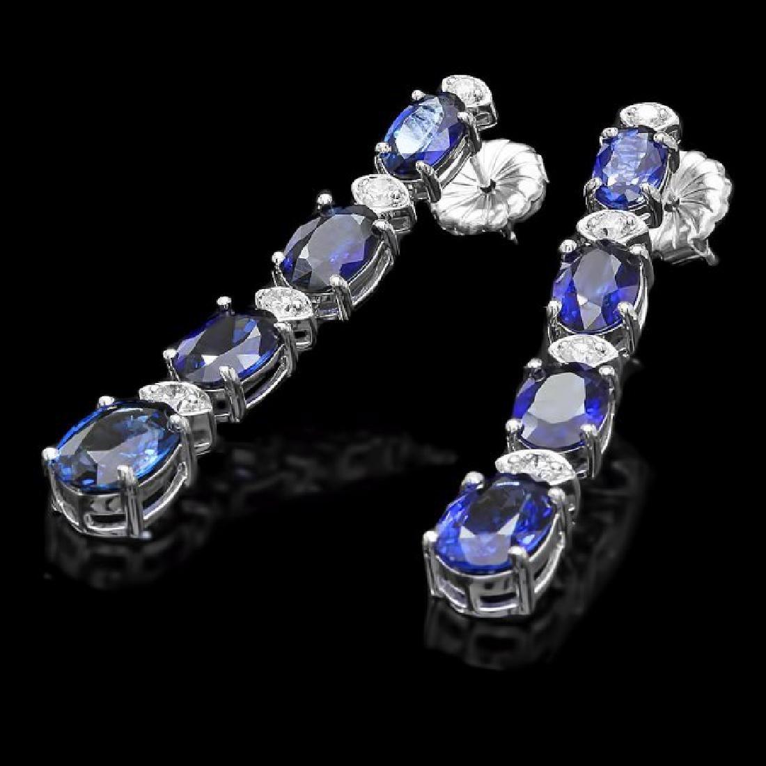 14k Gold 7ct Sapphire 0.40ct Diamond Earrings