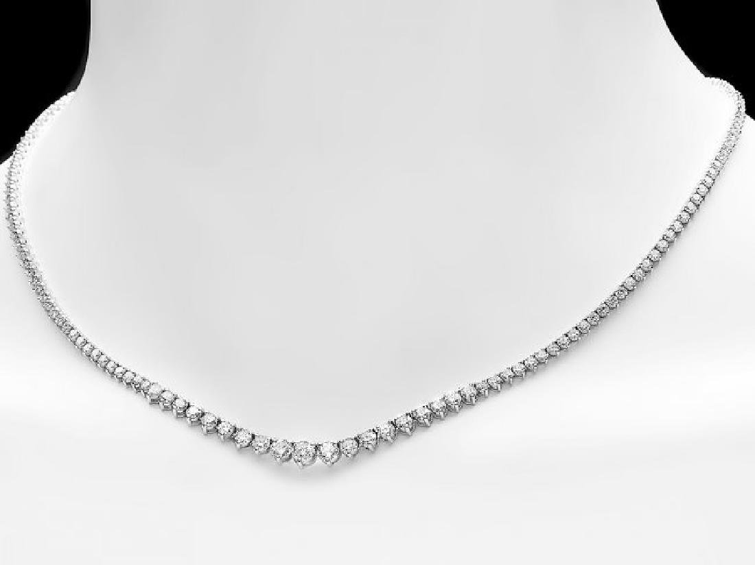 18k White Gold 8.50ct Diamond Necklace - 2