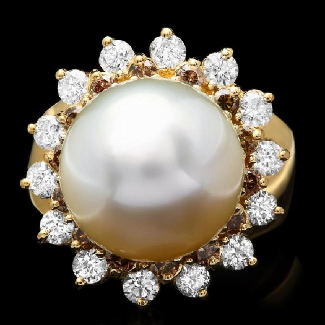 14k Yellow Gold 13mm Pearl 1.6ct Diamond Ring