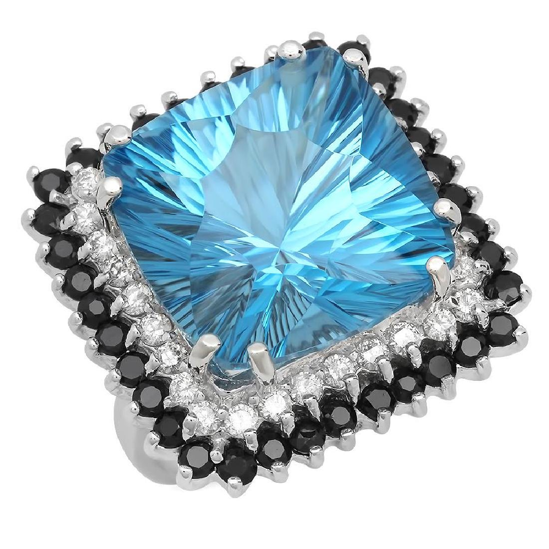 14K Gold 20.53ct Topaz 1.65ct Sapphire 0.77ct Diamond