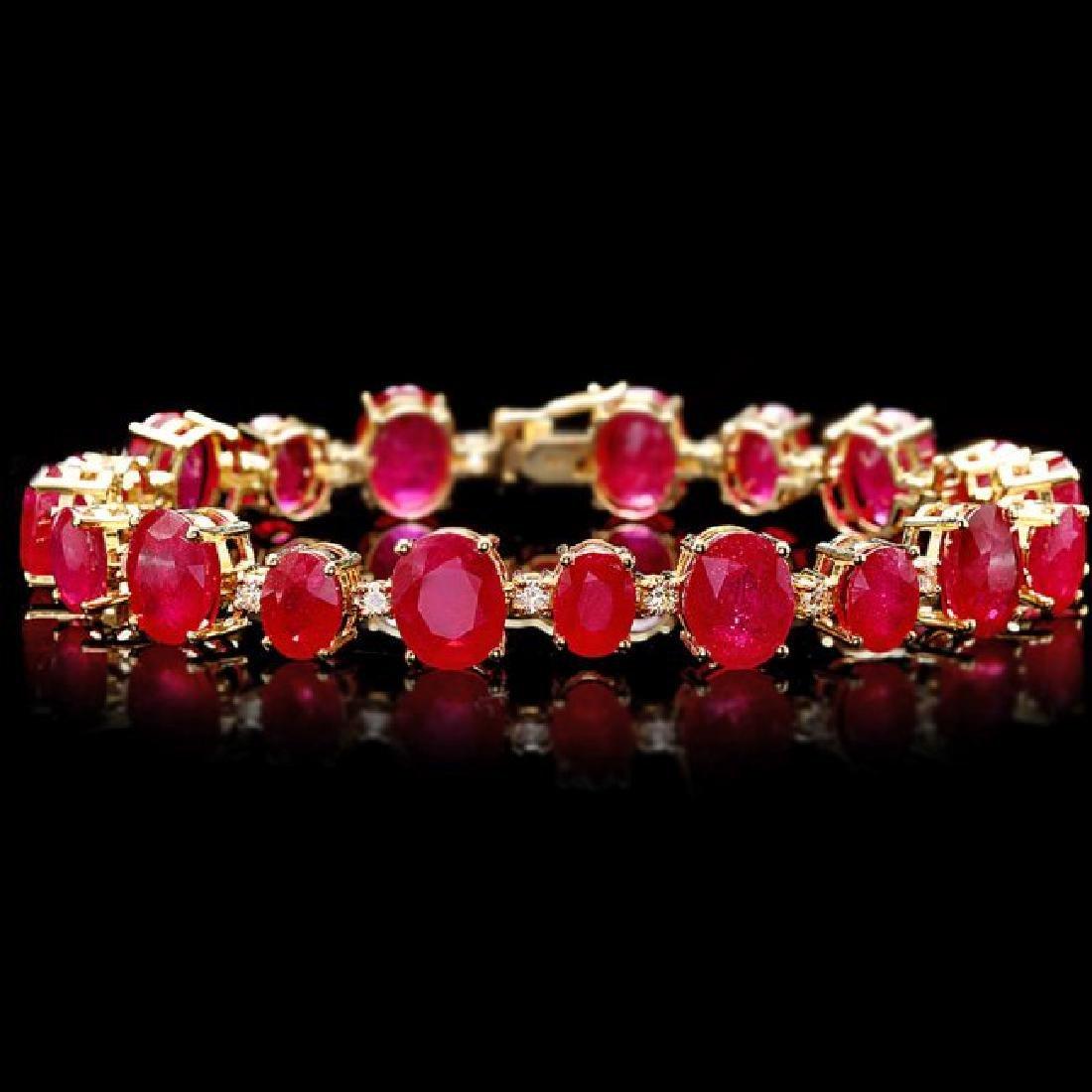 14k Gold 55.00ct Ruby 1.35ct Diamond Bracelet