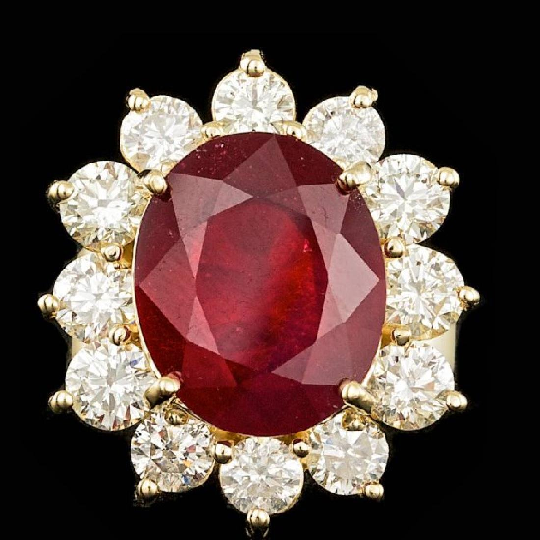 14k Yellow Gold 9.00ct Ruby 3.20ct Diamond Ring