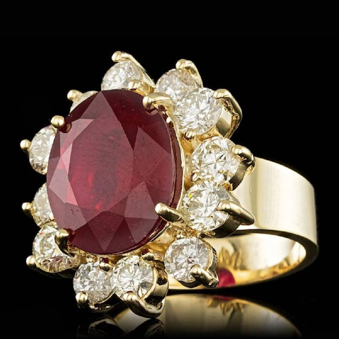 14k Yellow Gold 9.00ct Ruby 3.20ct Diamond Ring - 2
