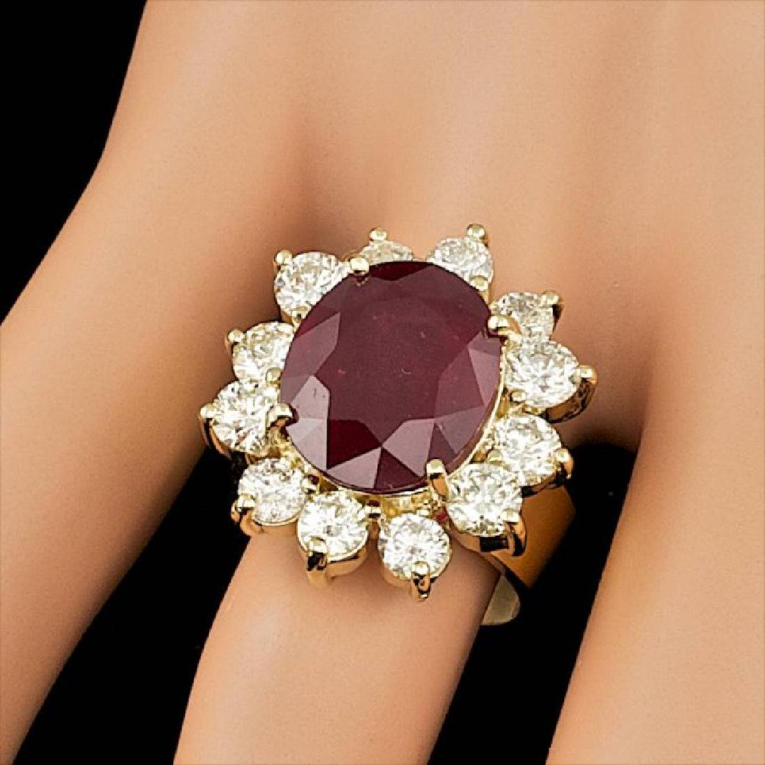14k Yellow Gold 9.00ct Ruby 3.20ct Diamond Ring - 3