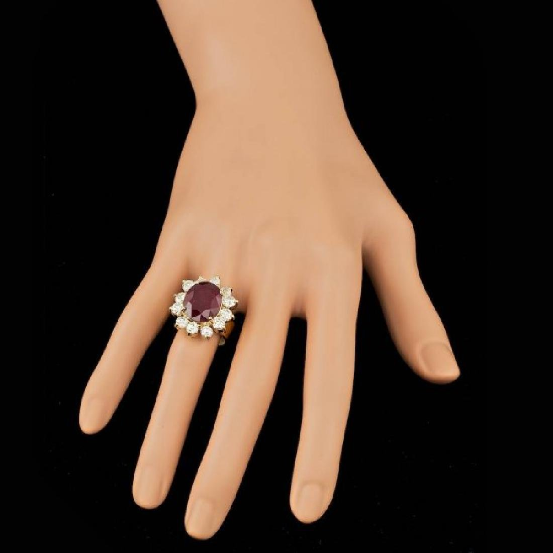 14k Yellow Gold 9.00ct Ruby 3.20ct Diamond Ring - 4