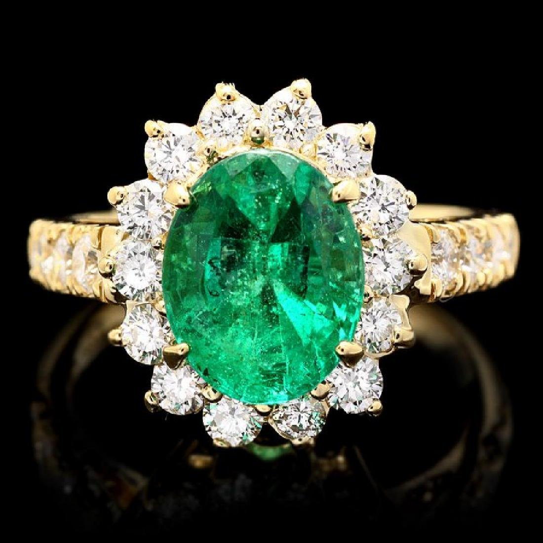 14k Gold 2.65ct Emerald 1.10ct Diamond Ring