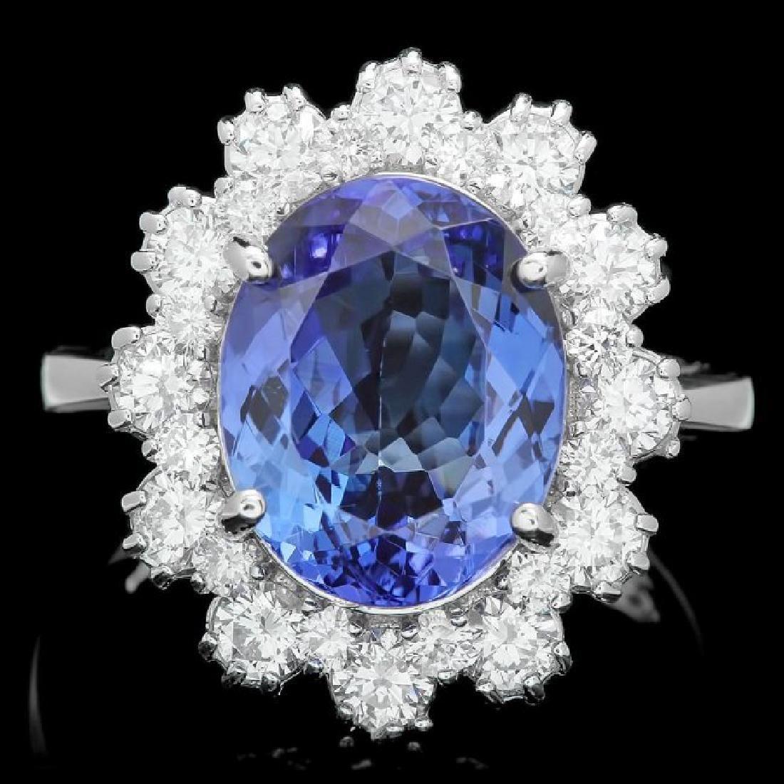 14k Gold 5.50ct Tanzanite 1.30ct Diamond Ring