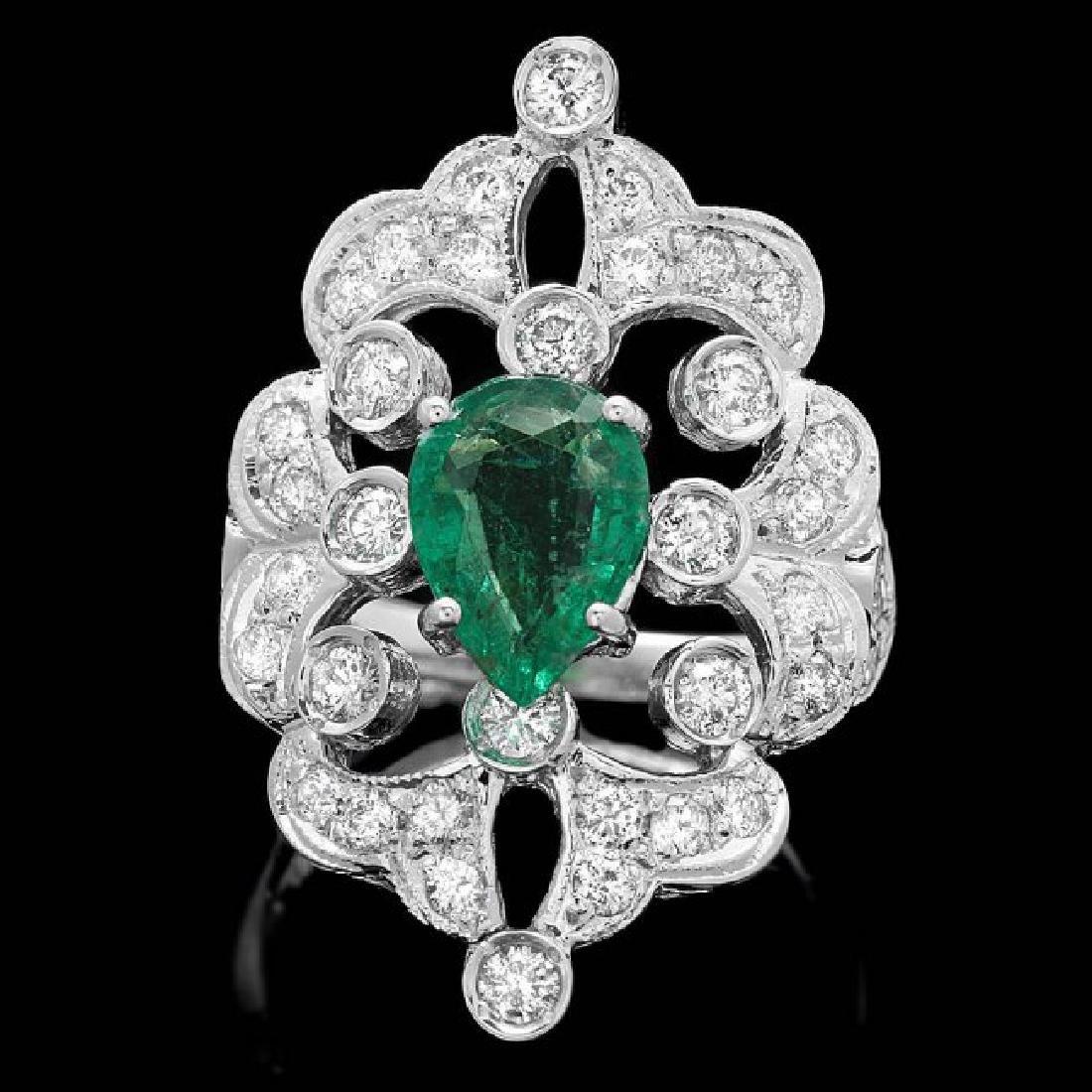 14k White Gold 1.50ct Emerald 1.35ct Diamond Ring