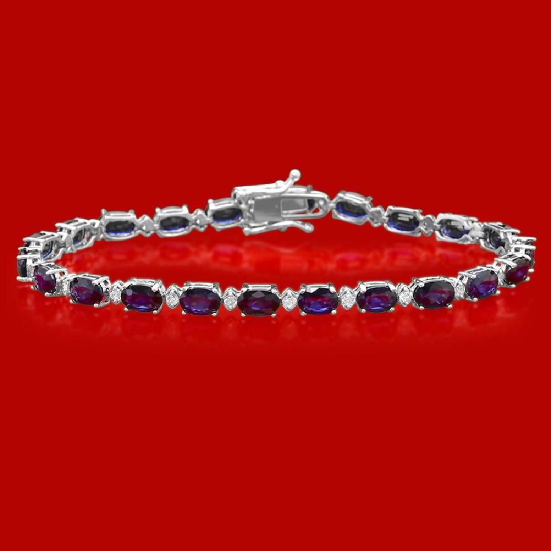 14k Gold 12.43ct Sapphire 0.71ct Diamond Bracelet