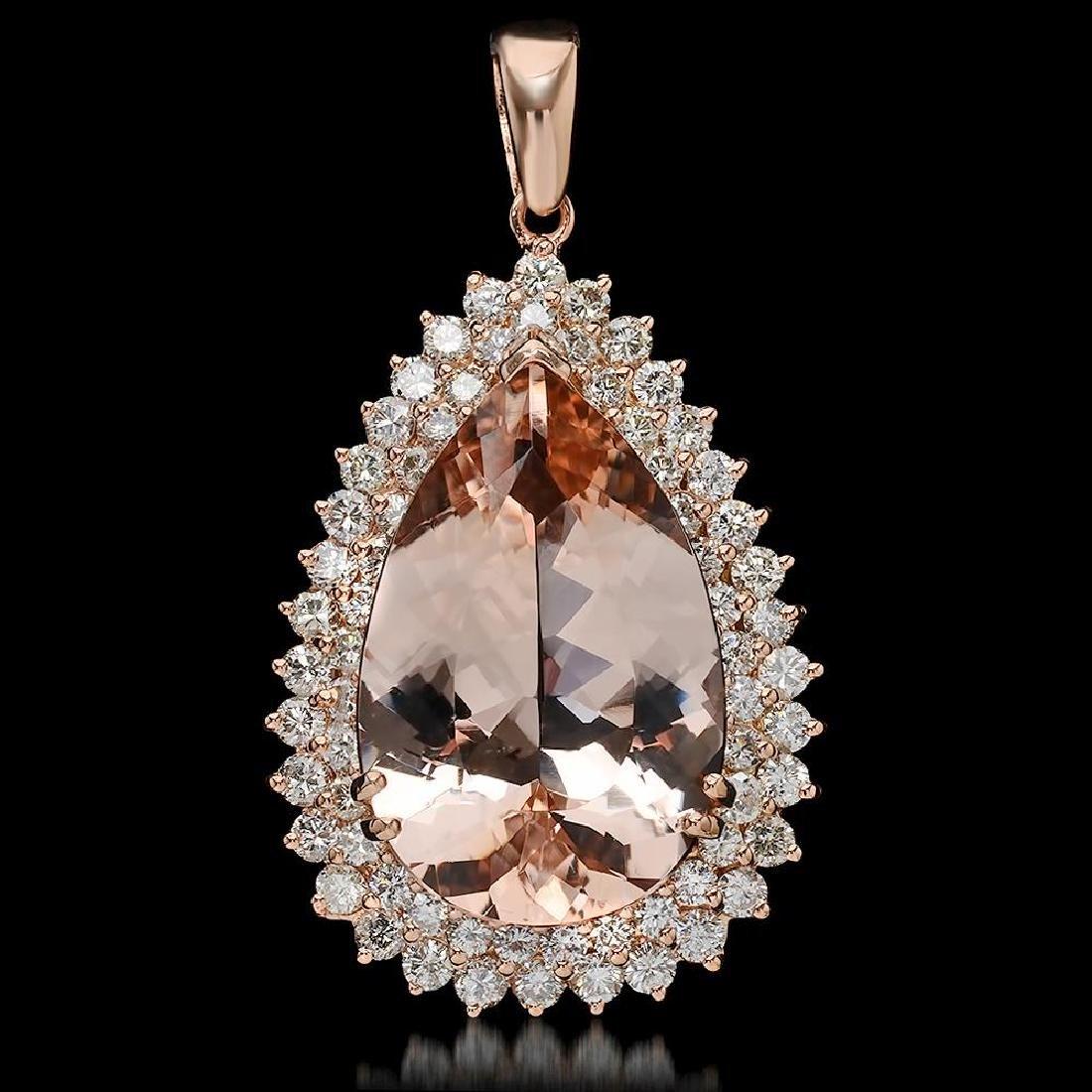 14K Gold 22.68ct Morganite 3.55ct Diamond Pendant