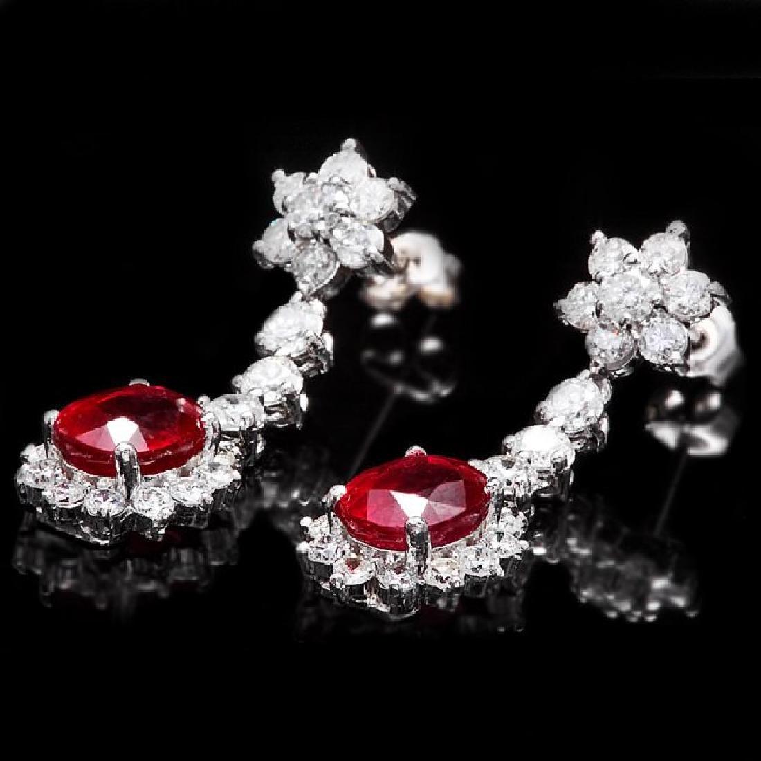 14k Gold 5.00ct Ruby 2.50ct Diamond Earrings