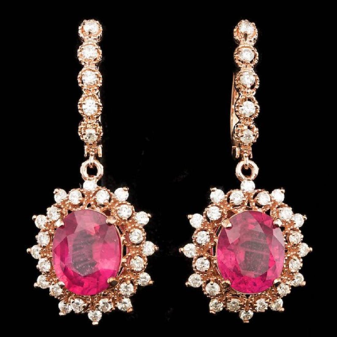 14k Rose Gold 9.00ct Ruby 1.60ct Diamond Earrings