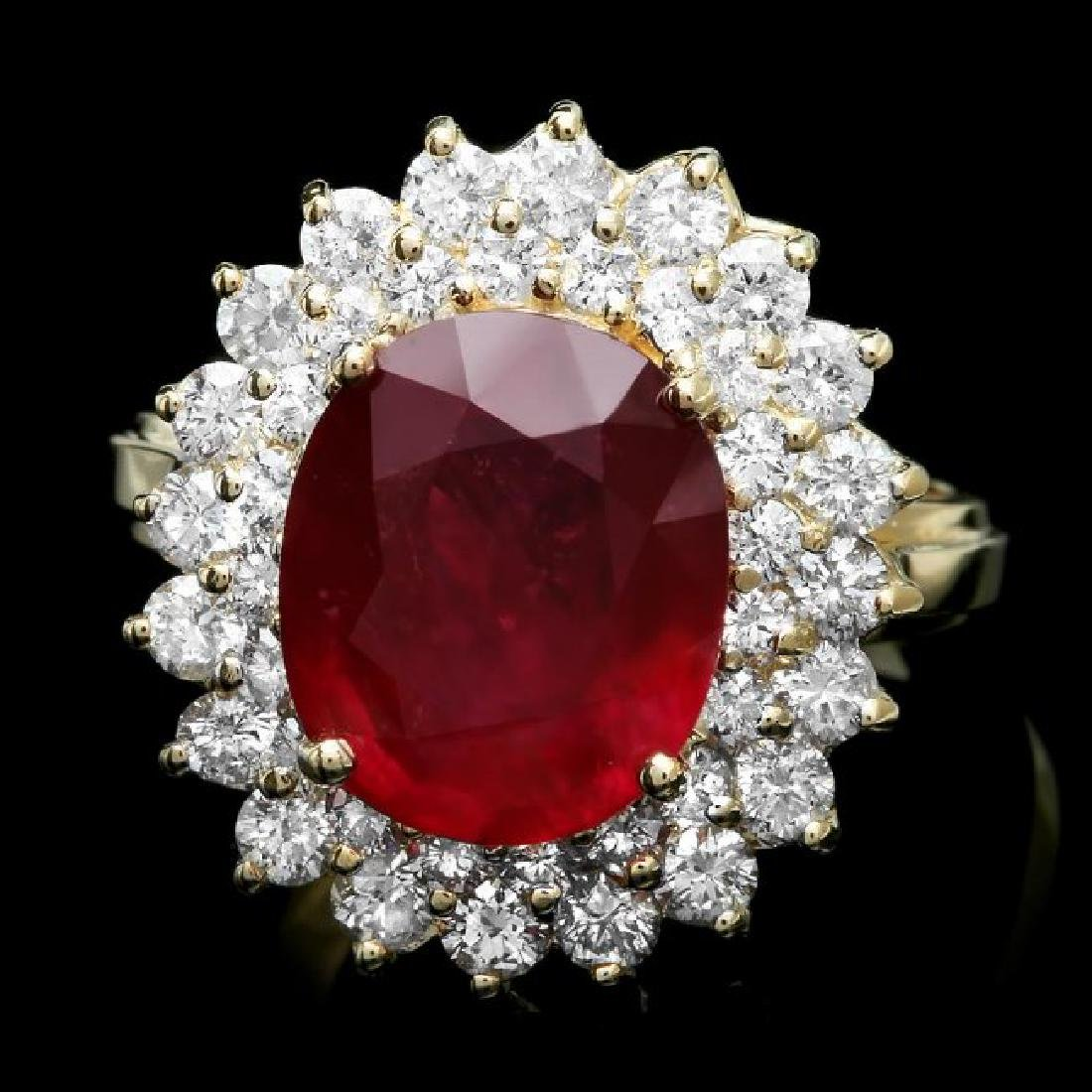 14k Yellow Gold 5.00ct Ruby 1.50ct Diamond Ring