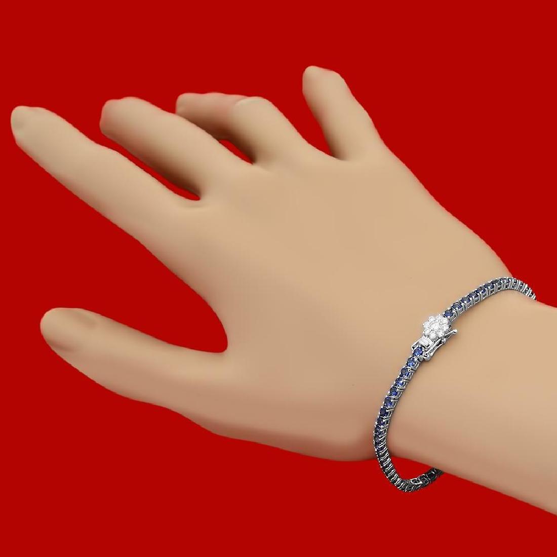 14k Gold 4.54ct Sapphire 0.40ct Diamond Bracelet