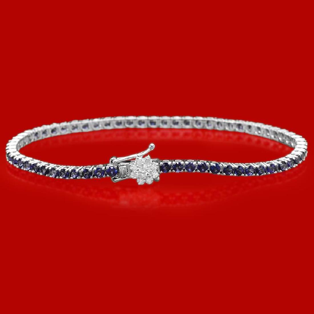 14k Gold 4.54ct Sapphire 0.40ct Diamond Bracelet - 2