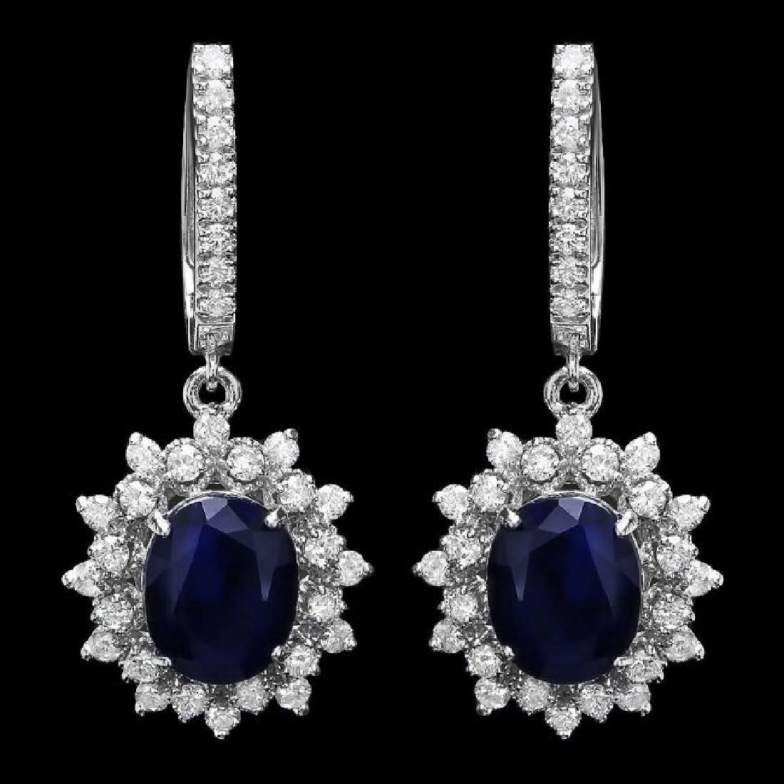 14k Gold 5.5ct Sapphire 1.70ct Diamond Earrings