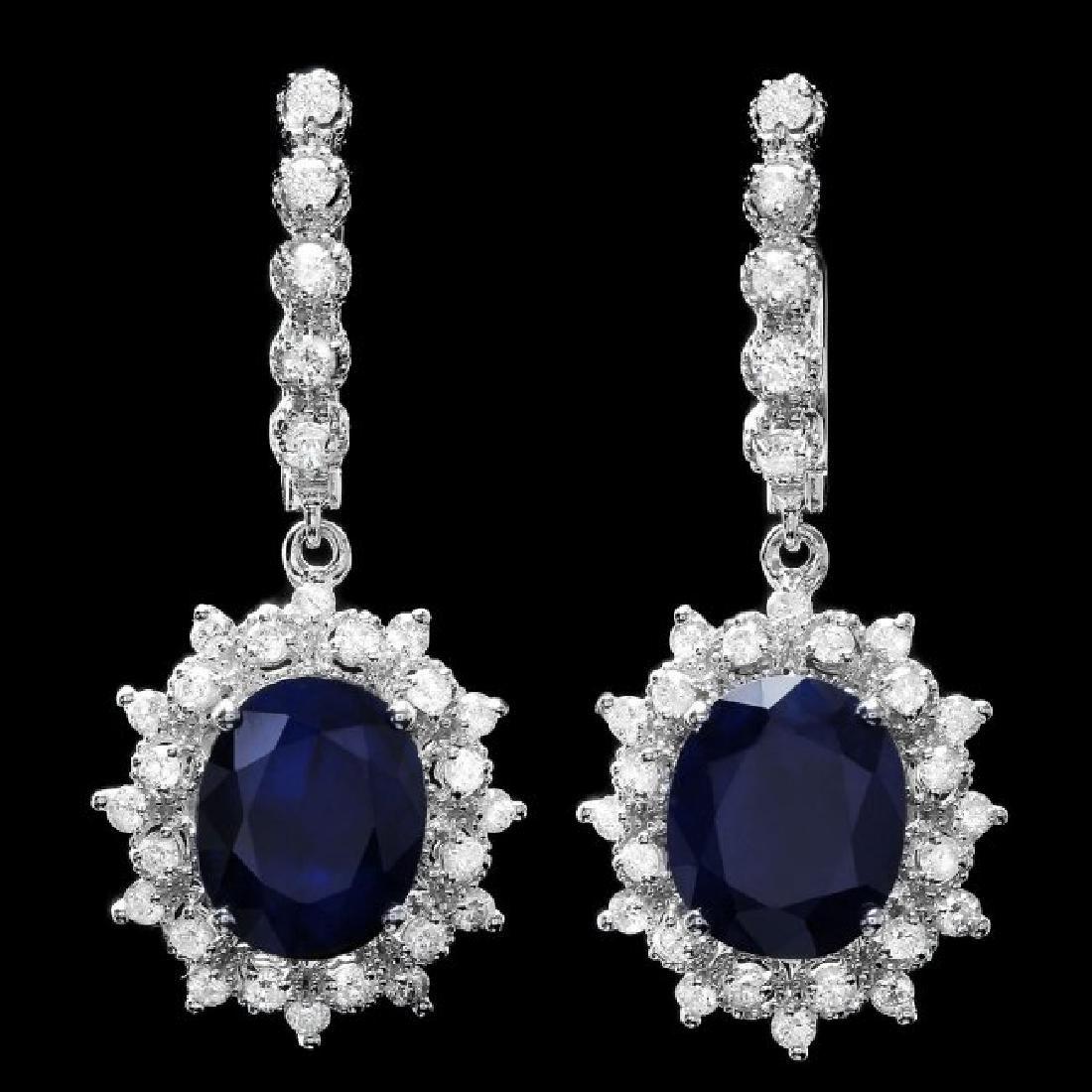 14k Gold 11ct Sapphire 1.60ct Diamond Earrings