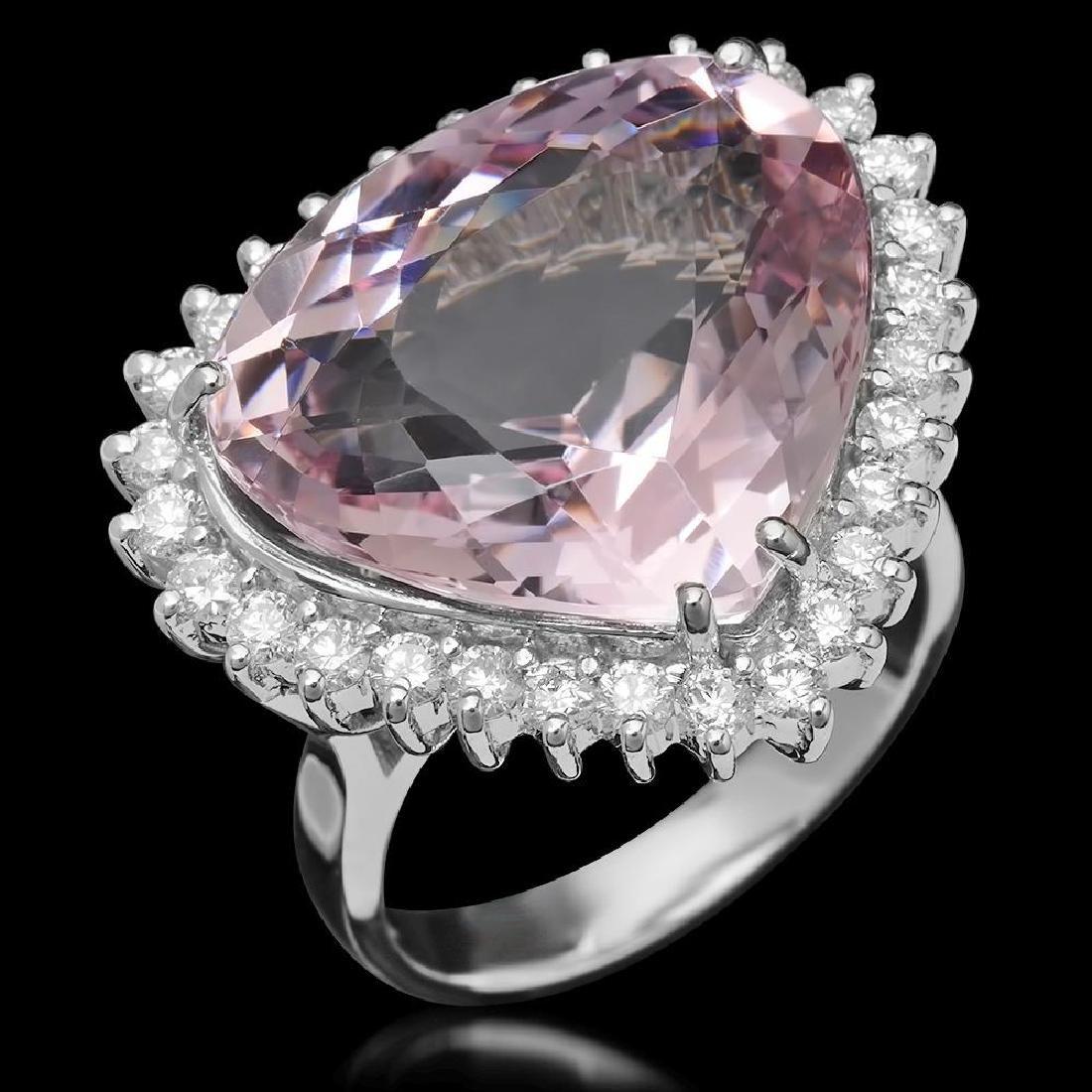 14K Gold 14.26ct Morganite 1.10ct Diamond Ring