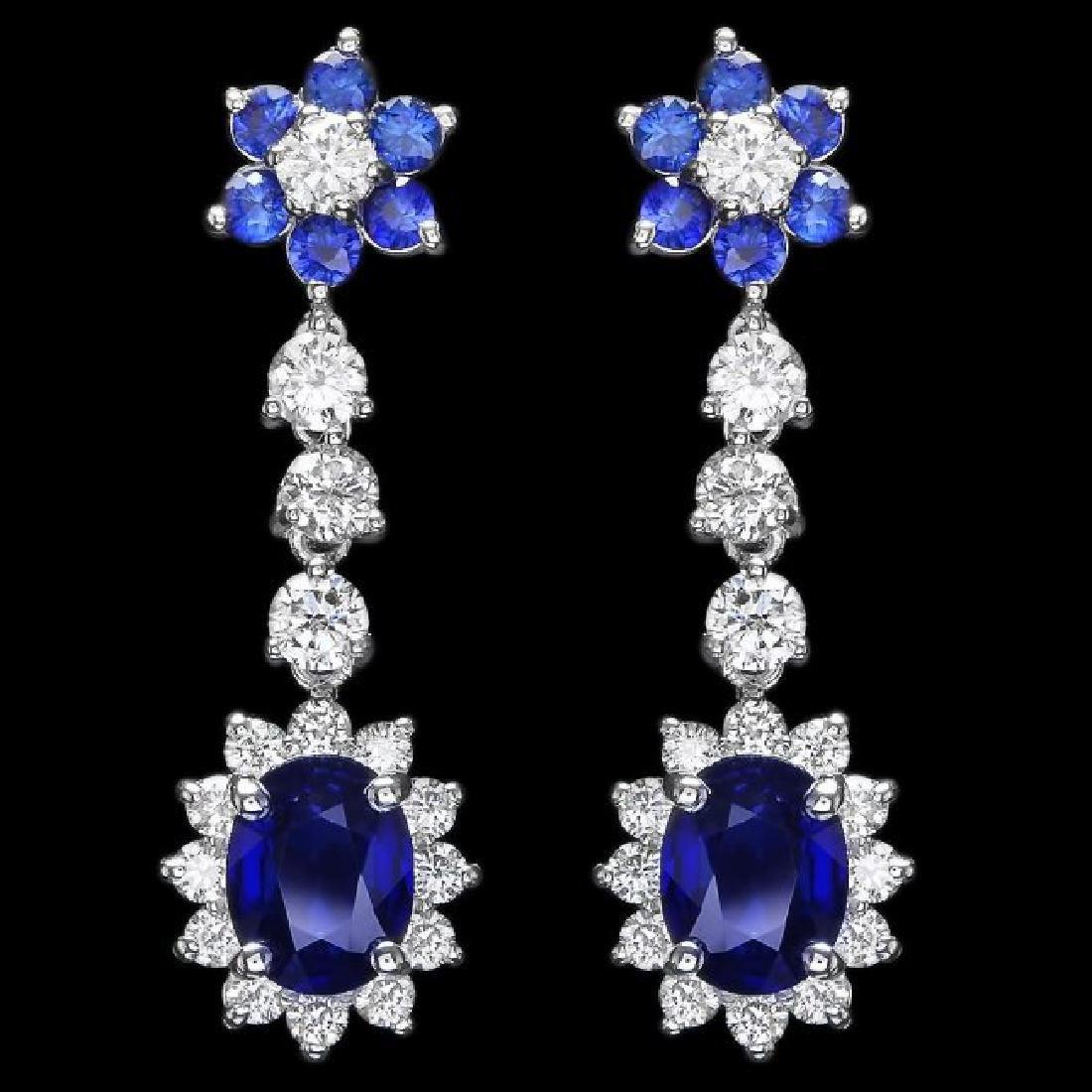 14k Gold 3.15ct Sapphire 2.00ct Diamond Earrings