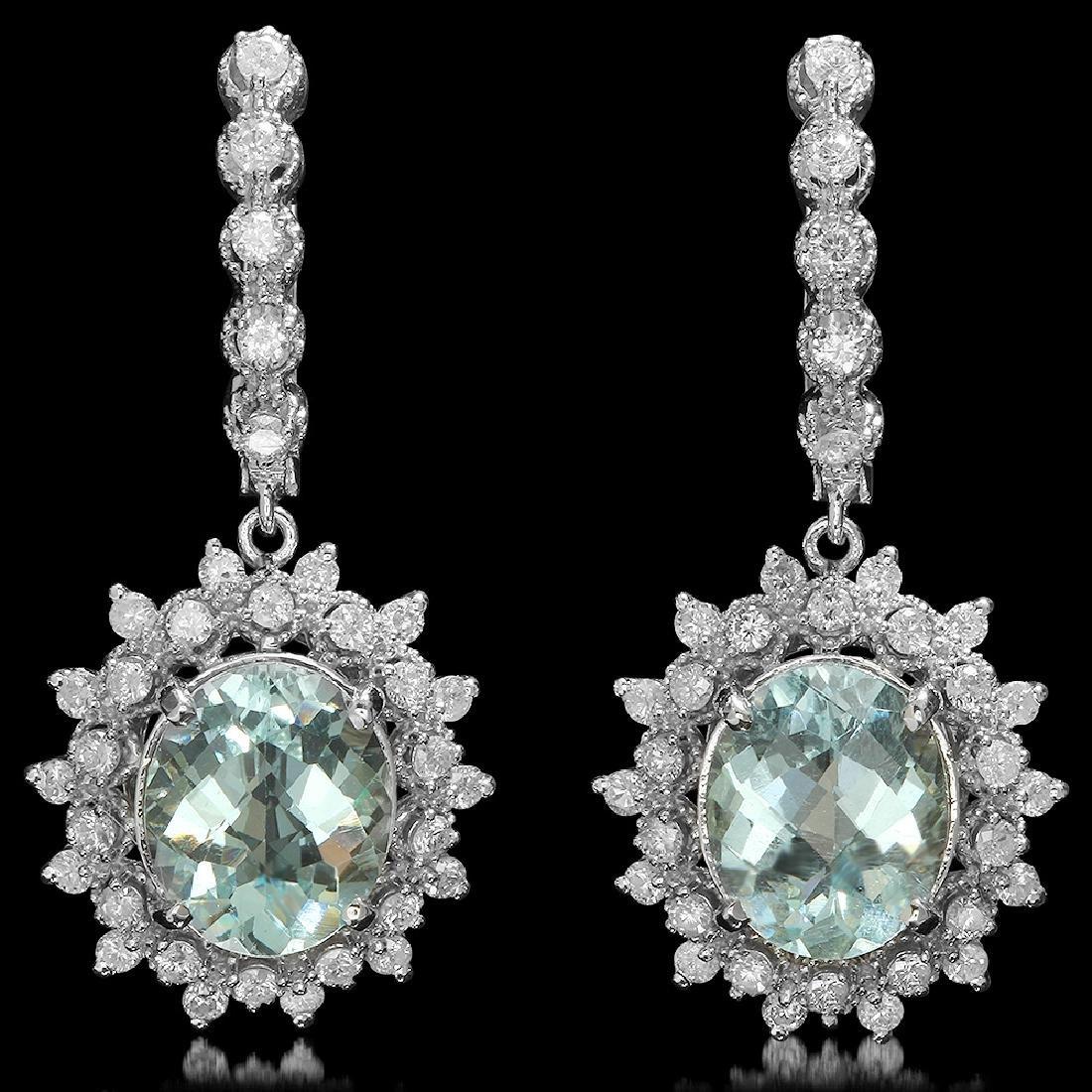 14K Gold 6.28ct Aquamarine 1.60ct Diamond Earrings