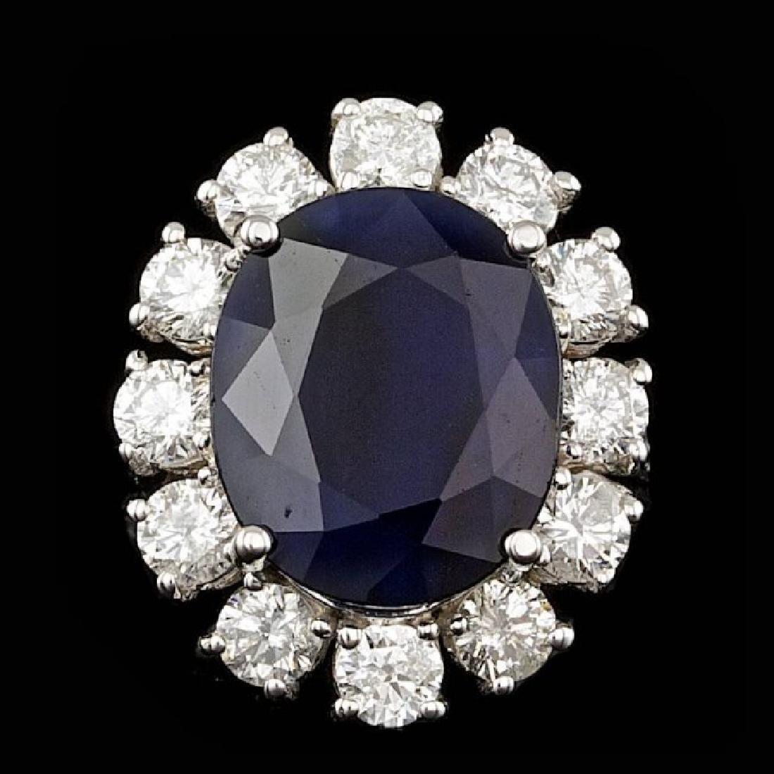 14k Gold 8.00ct Sapphire 1.70ct Diamond Ring