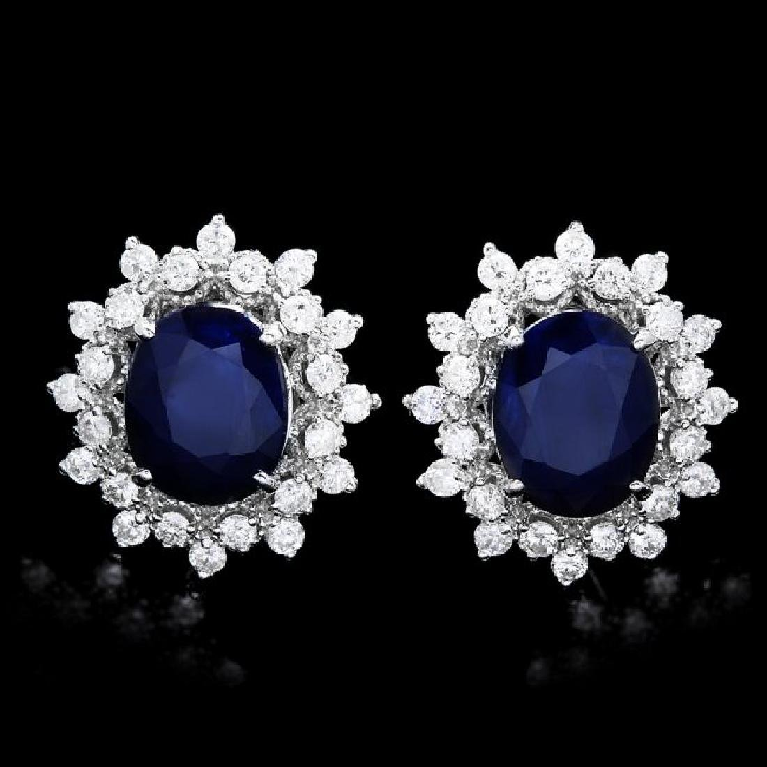 14k Gold 6ct Sapphire 1.30ct Diamond Earrings