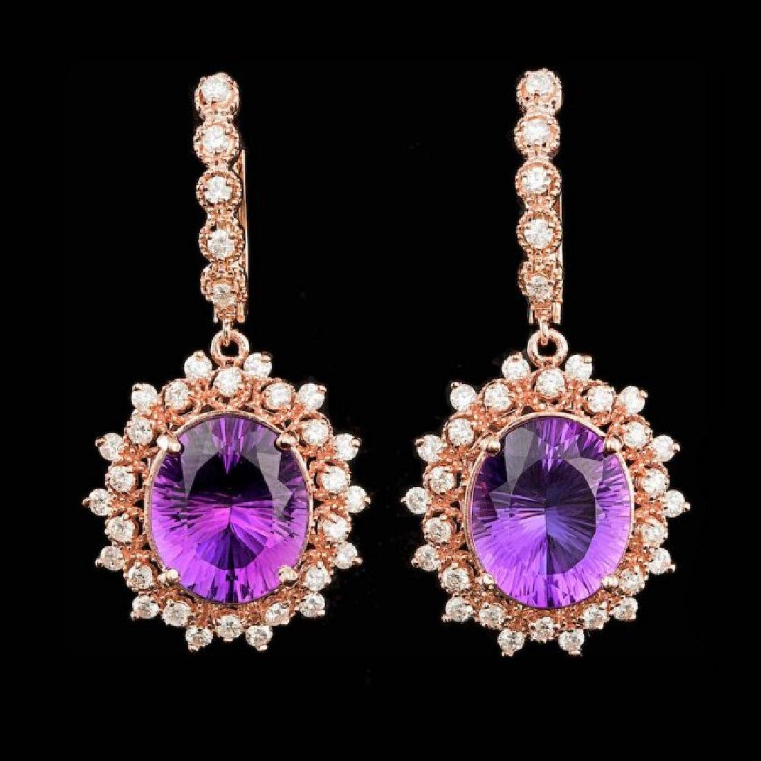 14k Rose 10.00ct Amethyst 1.85ct Diamond Earrings