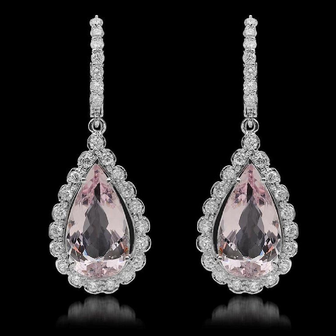 14K Gold 9.40ct Morganite & 1.65ct Diamond Earrings