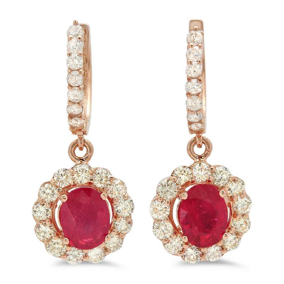 14K Gold 2.97ct Ruby 2.15cts Diamond Earrings