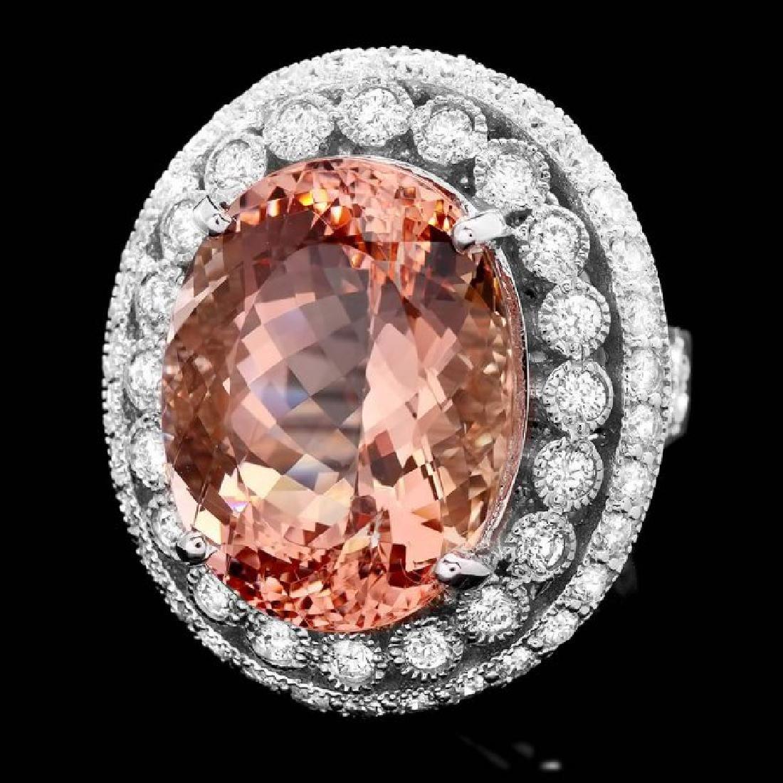 14k Gold 16.20ct Morganite 1.85ct Diamond Ring
