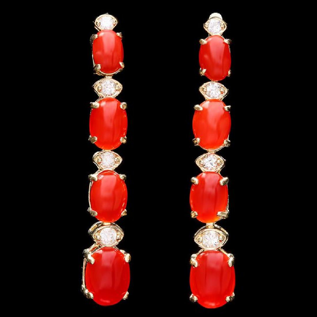 14k Gold 4.00ct Coral 0.35ct Diamond Earrings