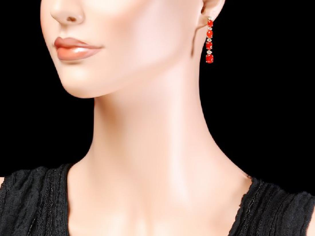 14k Gold 4.00ct Coral 0.35ct Diamond Earrings - 4