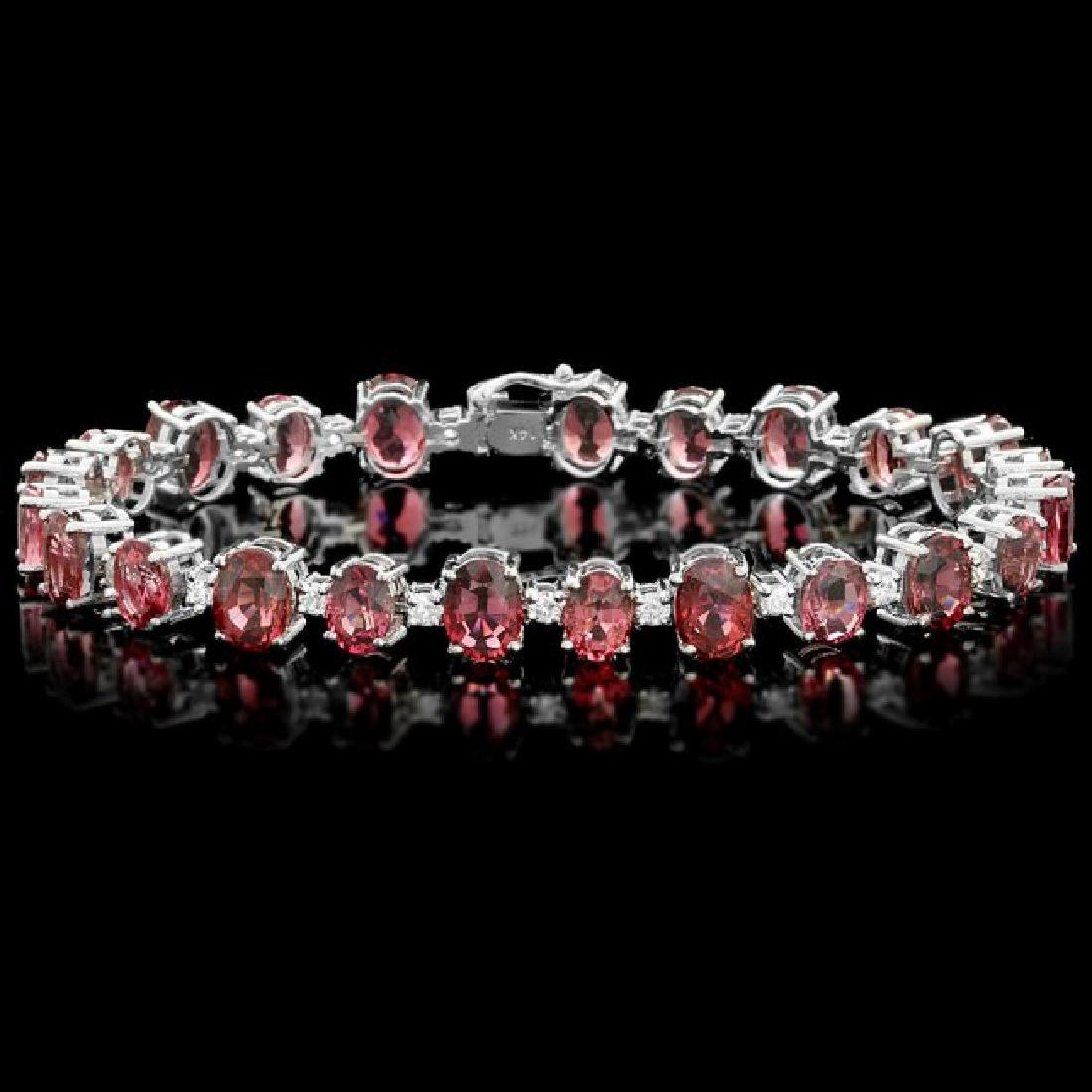 14k 28.00ct Tourmaline 1.70ct Diamond Bracelet