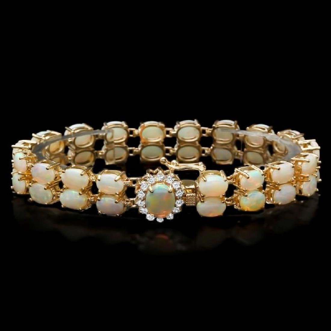 14k Yellow Gold 17ct Opal 0.50ct Diamond Bracelet