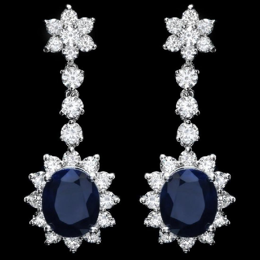 14k Gold 8.50ct Sapphire 3.30ct Diamond Earrings