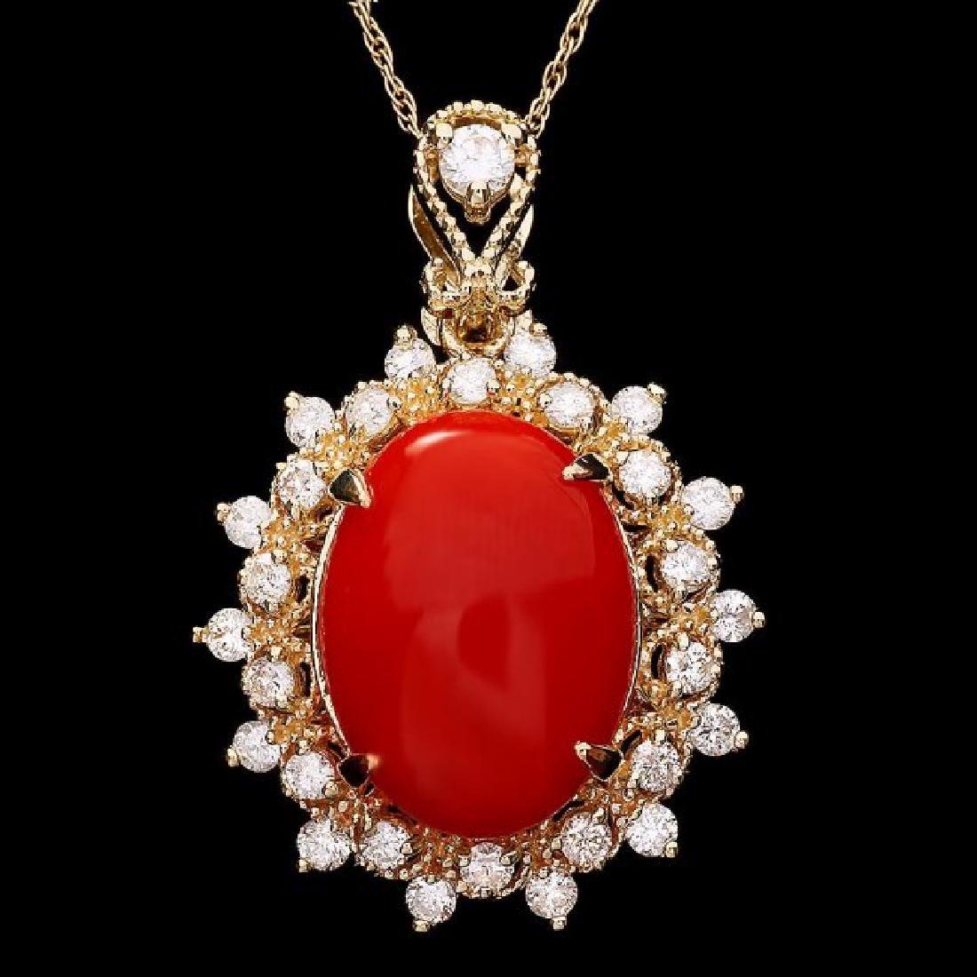 14k Gold 4.70ct Coral 0.80ct Diamond Pendant