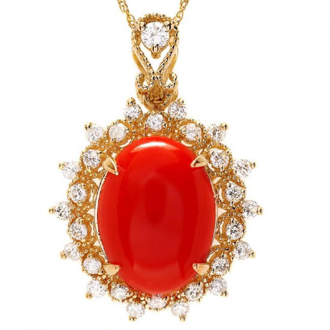 14k Gold 4.70ct Coral 0.80ct Diamond Pendant - 2