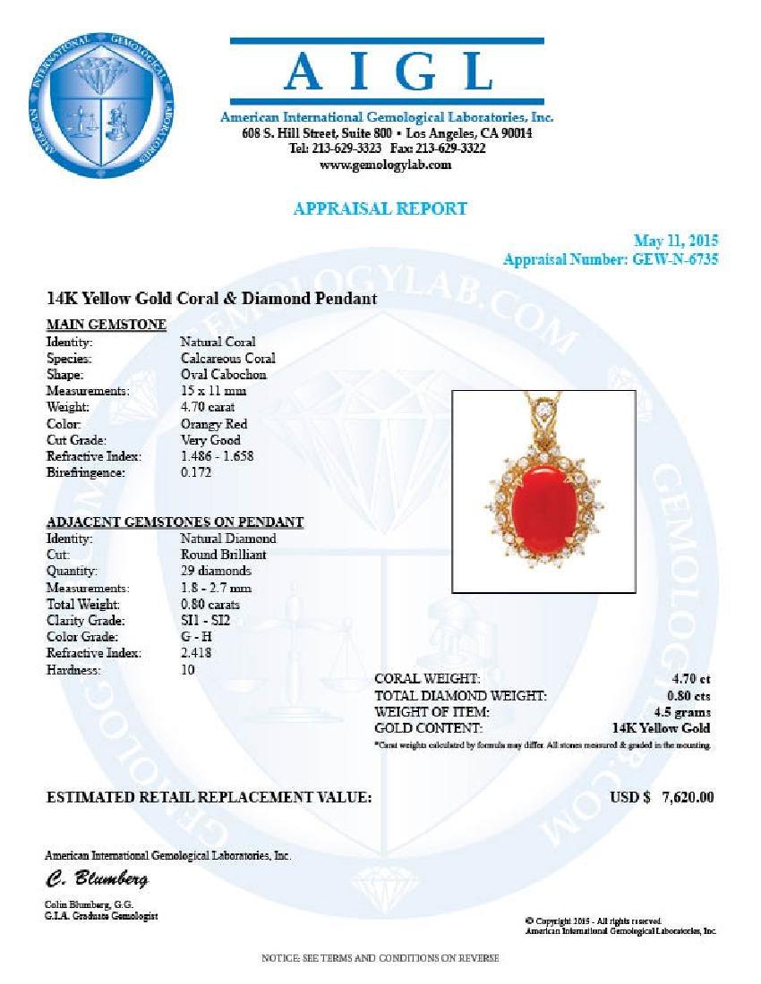 14k Gold 4.70ct Coral 0.80ct Diamond Pendant - 4