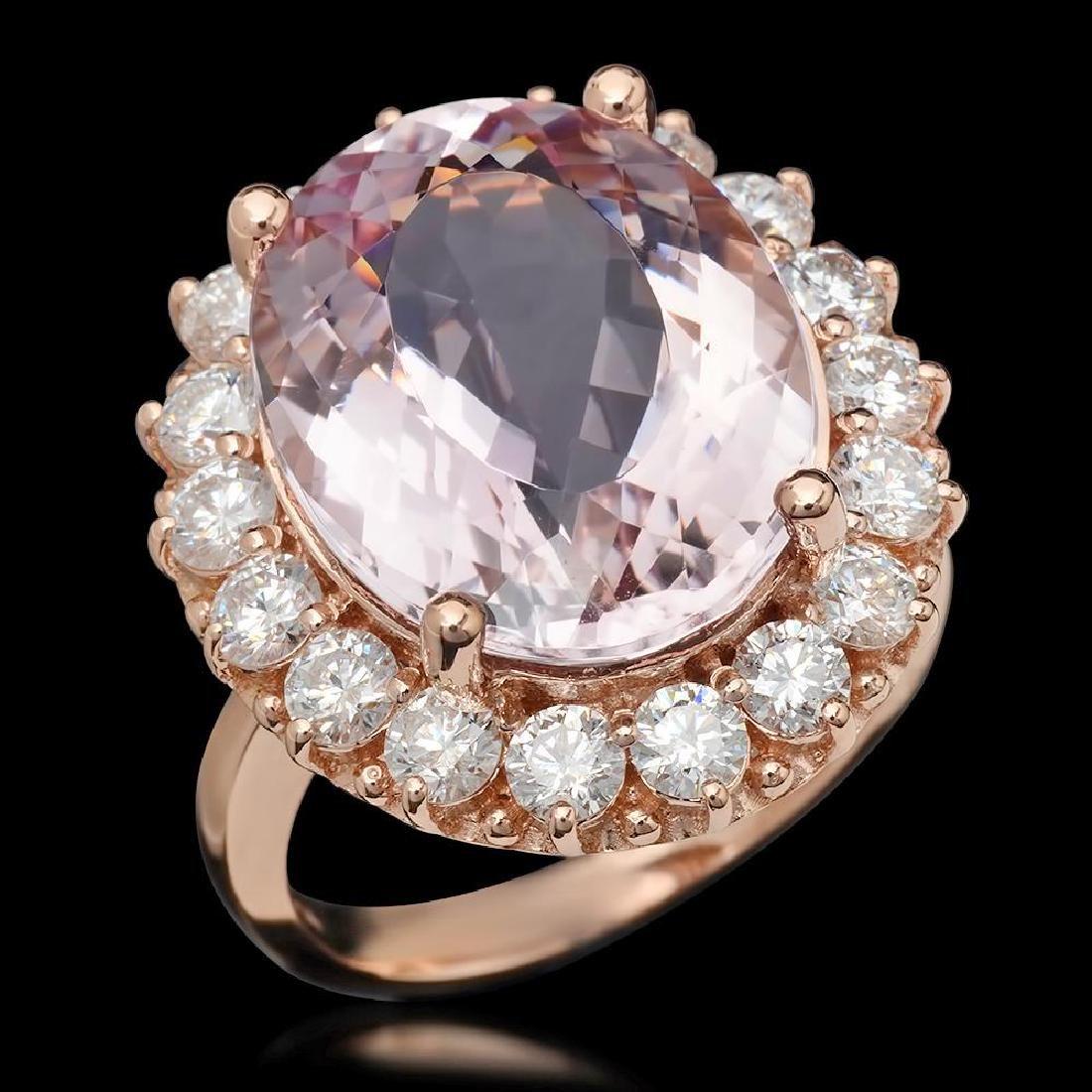 14K Gold 13.13ct Kunzite 2.22ct Diamond Ring