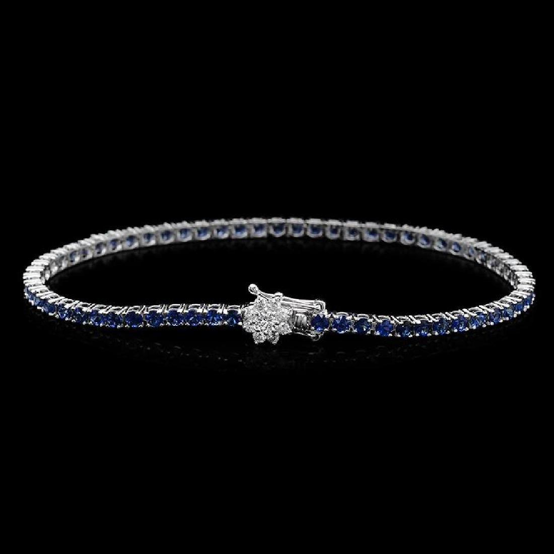 14K Gold 4.50ct Sapphire 0.40ct Diamond Bracelet