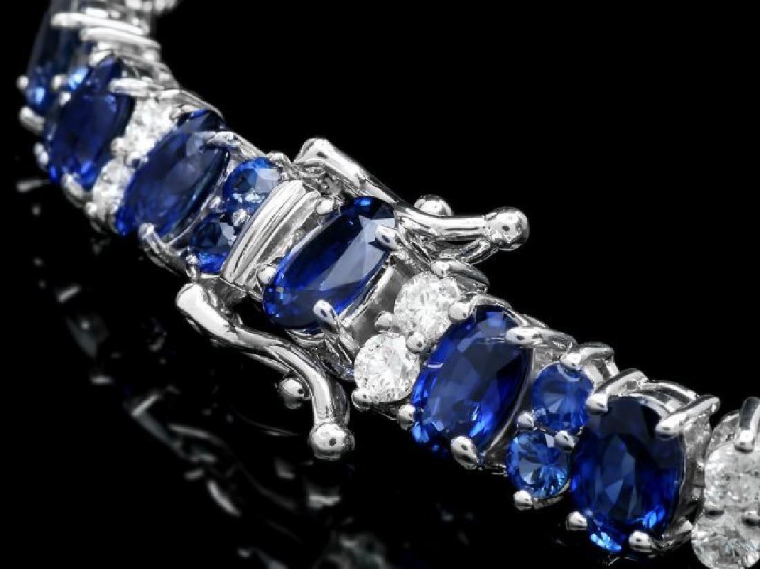 14k Gold 18ct Sapphire 1.80ct Diamond Bracelet - 2