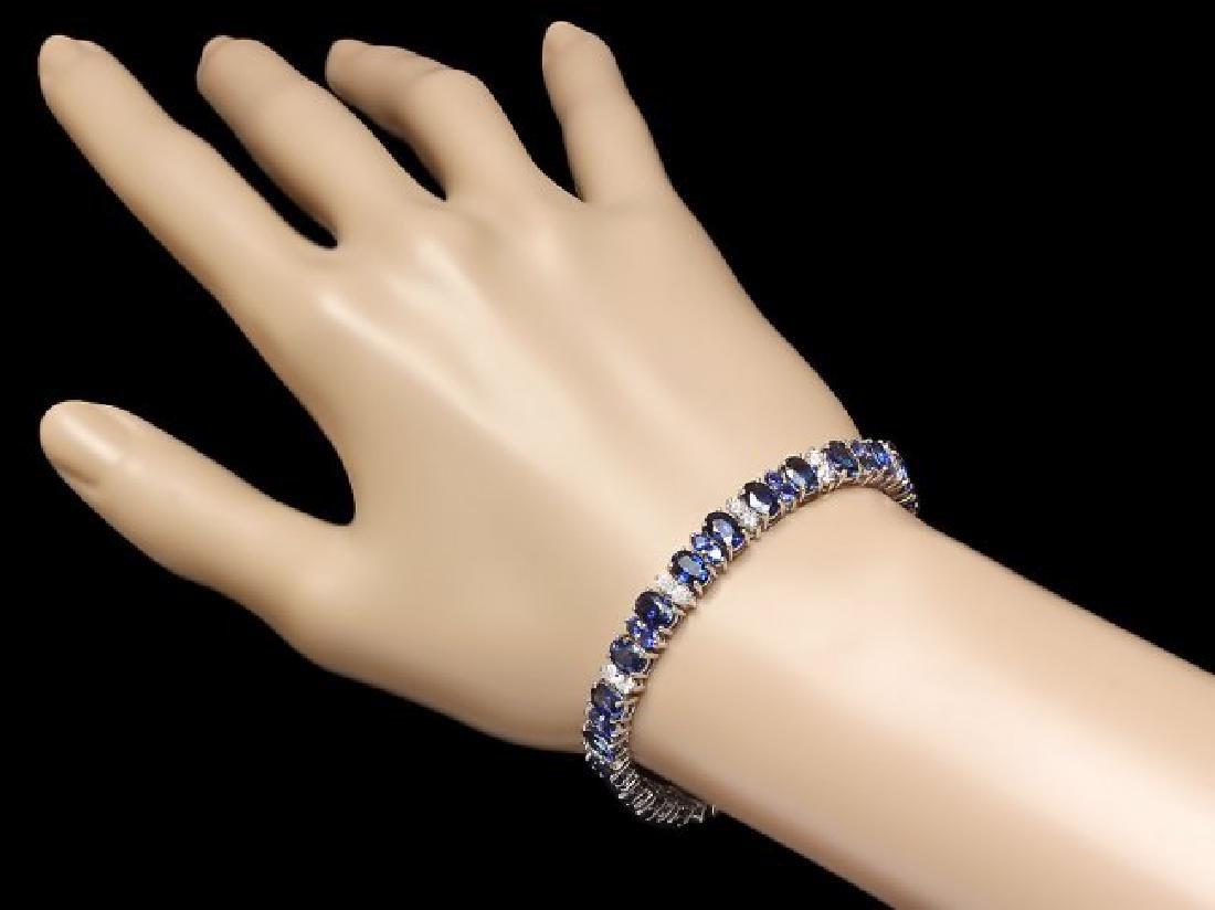 14k Gold 18ct Sapphire 1.80ct Diamond Bracelet - 3