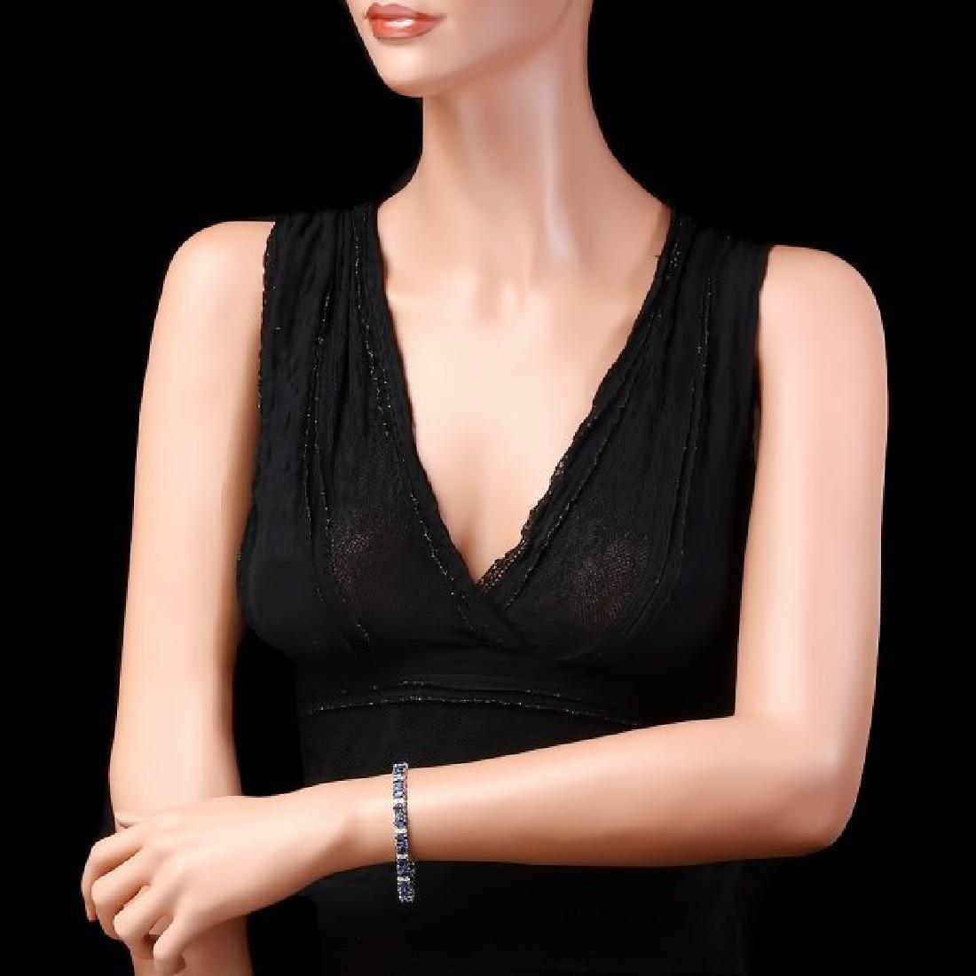 14k Gold 18ct Sapphire 1.80ct Diamond Bracelet - 4