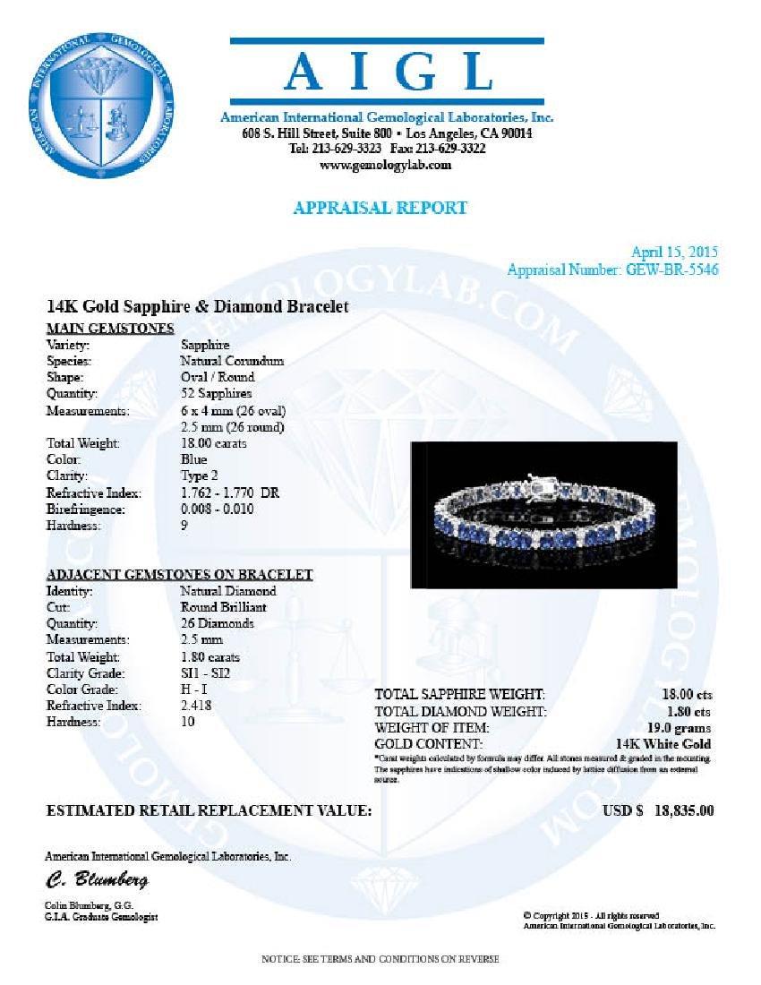 14k Gold 18ct Sapphire 1.80ct Diamond Bracelet - 5