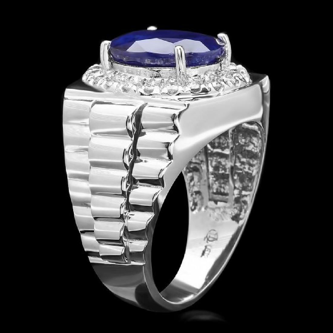 14k Gold 8.00ct Sapphire 0.70ct Diamond Mens Ring - 2