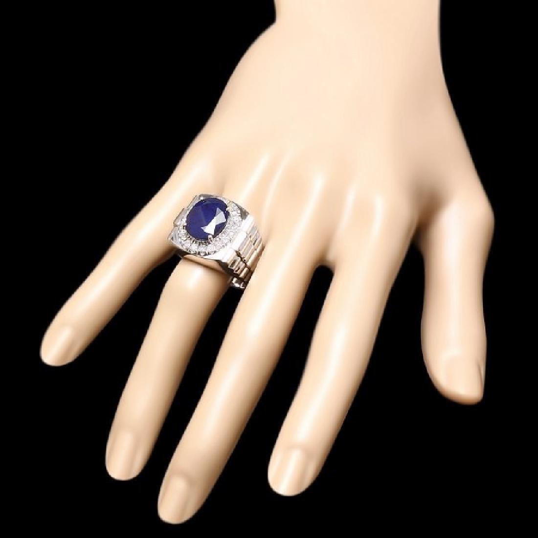 14k Gold 8.00ct Sapphire 0.70ct Diamond Mens Ring - 3