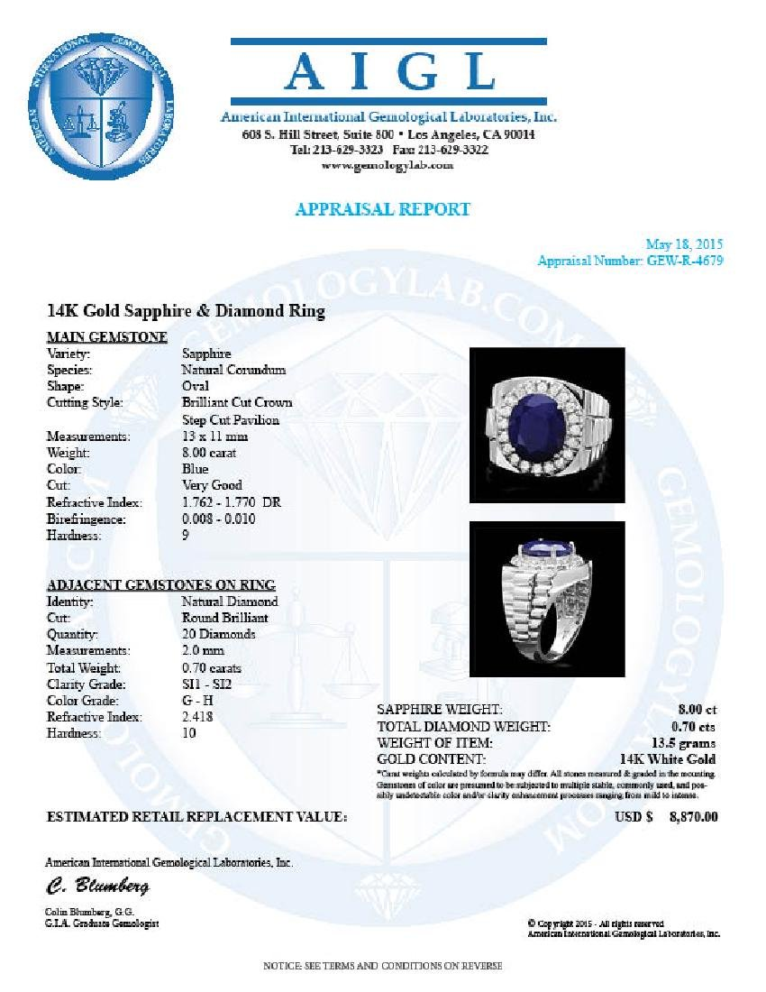 14k Gold 8.00ct Sapphire 0.70ct Diamond Mens Ring - 4