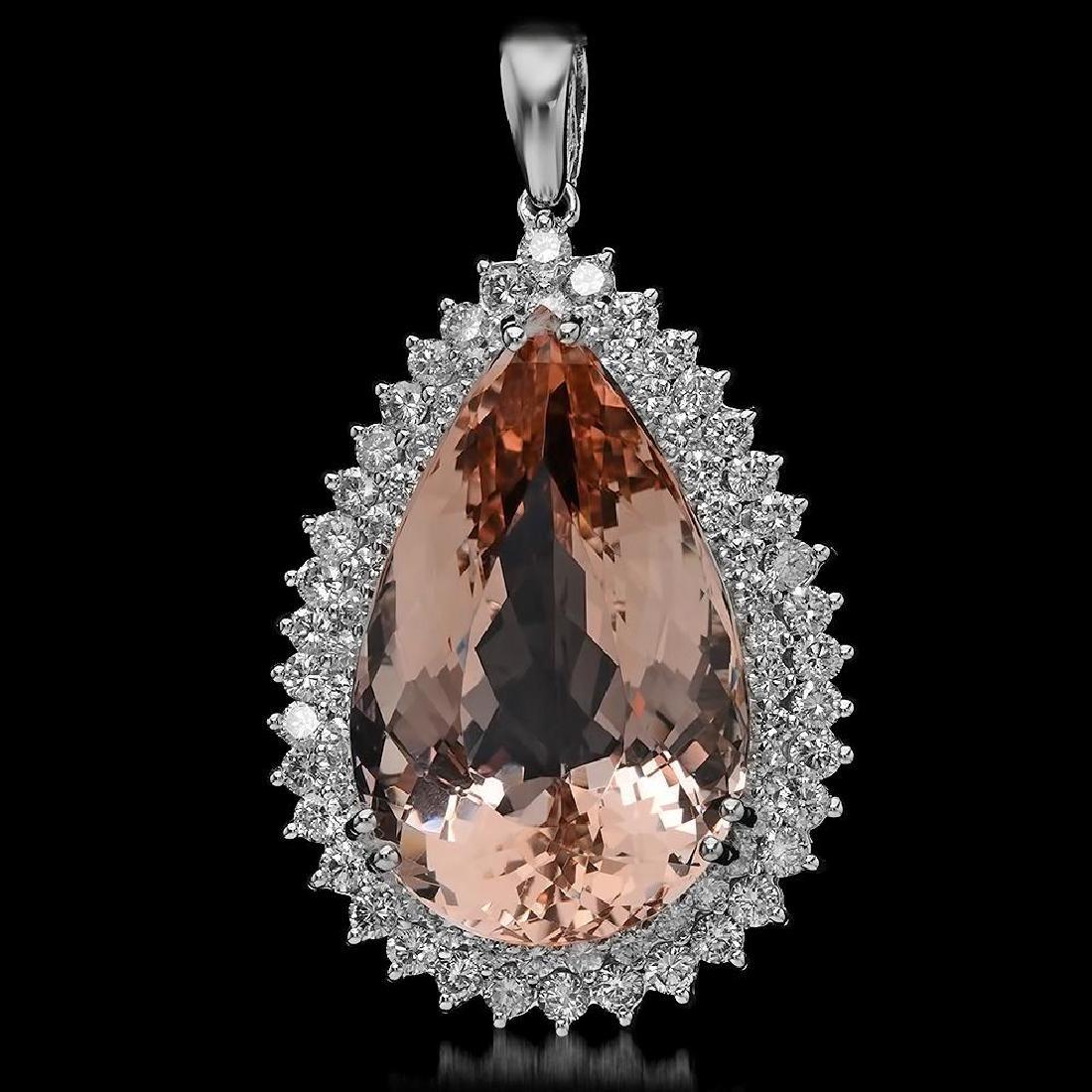 14K Gold 44.65ct Morganite 3.95ct Diamond Pendant